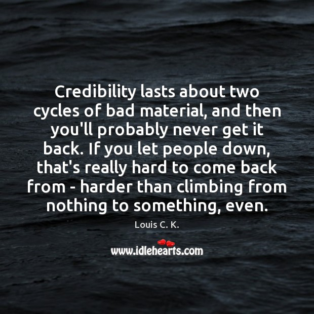 Credibility lasts about two cycles of bad material, and then you'll probably Image