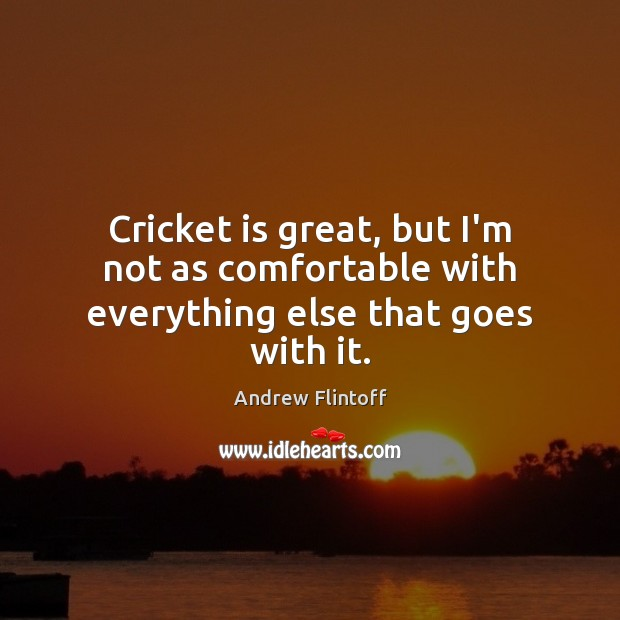 Image, Cricket is great, but I'm not as comfortable with everything else that goes with it.