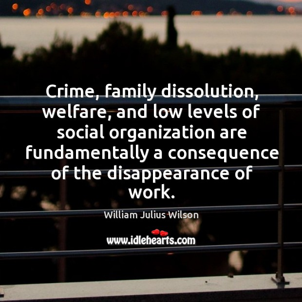 Crime, family dissolution, welfare, and low levels of social organization are William Julius Wilson Picture Quote