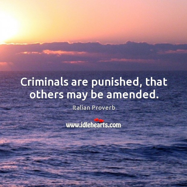 Image, Criminals are punished, that others may be amended.