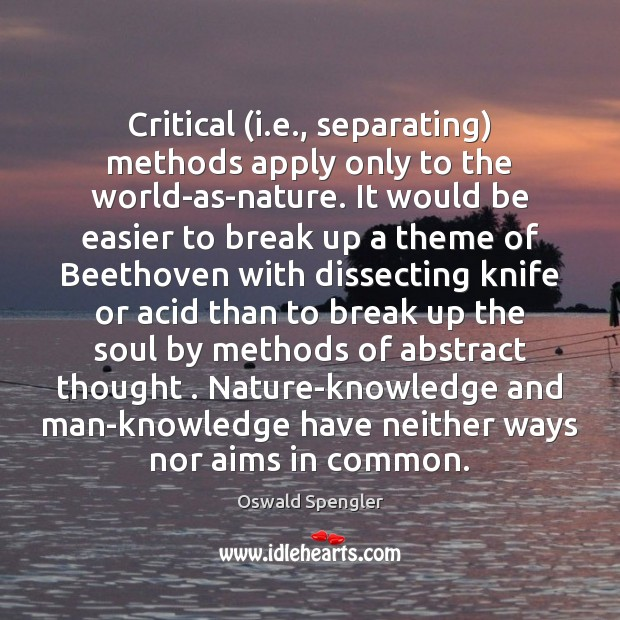 Critical (i.e., separating) methods apply only to the world-as-nature. It would Image