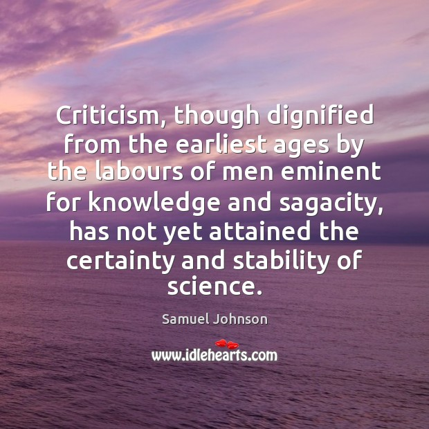 Image, Criticism, though dignified from the earliest ages by the labours of men