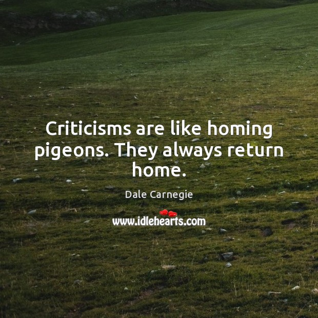 Criticisms are like homing pigeons. They always return home. Image