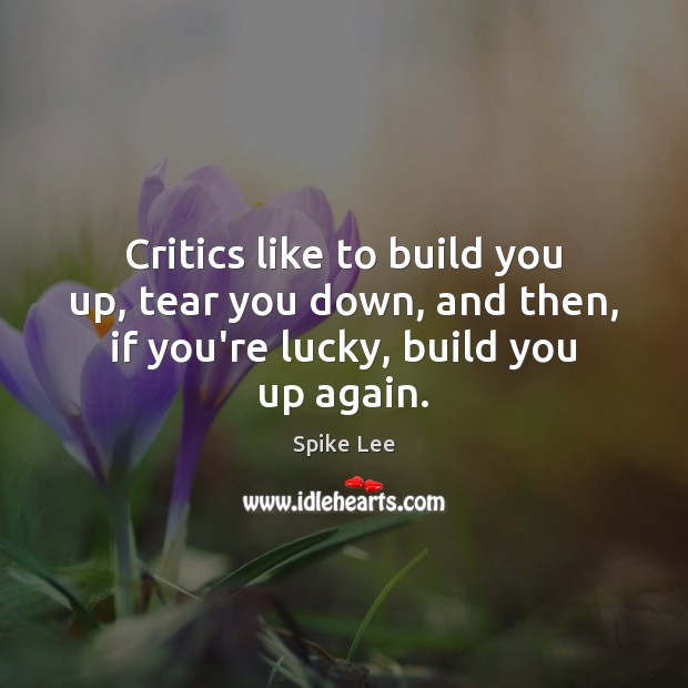 Critics like to build you up, tear you down, and then, if Spike Lee Picture Quote