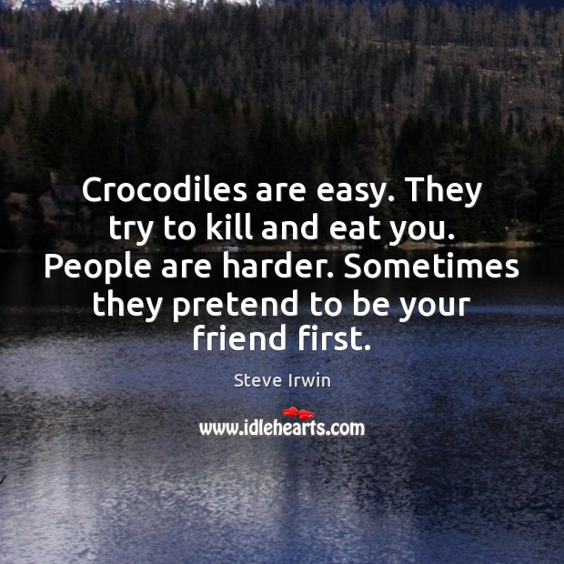 Crocodiles are easy. They try to kill and eat you. People are Image