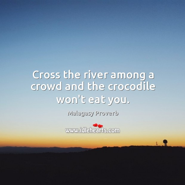 Cross the river among a crowd and the crocodile won't eat you. Malagasy Proverbs Image