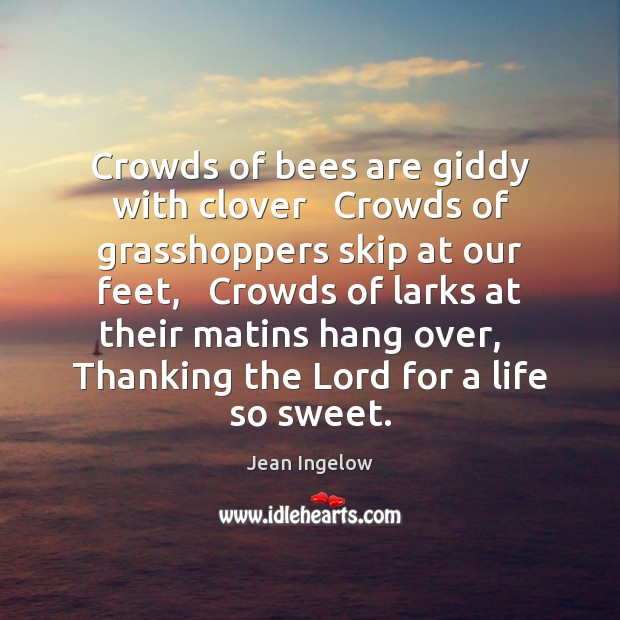 Image, Crowds of bees are giddy with clover   Crowds of grasshoppers skip at