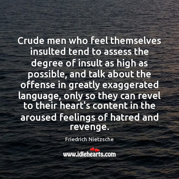 Crude men who feel themselves insulted tend to assess the degree of Insult Quotes Image