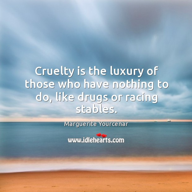 Cruelty is the luxury of those who have nothing to do, like drugs or racing stables. Marguerite Yourcenar Picture Quote