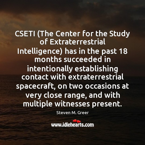 Image, CSETI (The Center for the Study of Extraterrestrial Intelligence) has in the