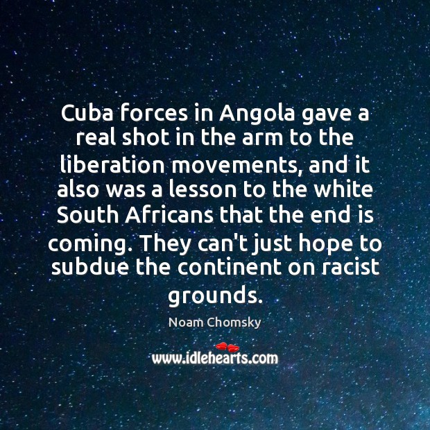 Cuba forces in Angola gave a real shot in the arm to Image