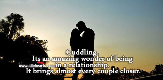 Cuddling brings almost every couple closer. Image