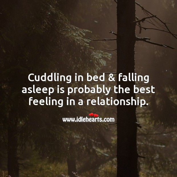 Image, Cuddling in bed & falling asleep is probably the best feeling in a relationship.
