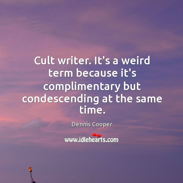 Cult writer. It's a weird term because it's complimentary but condescending at Image