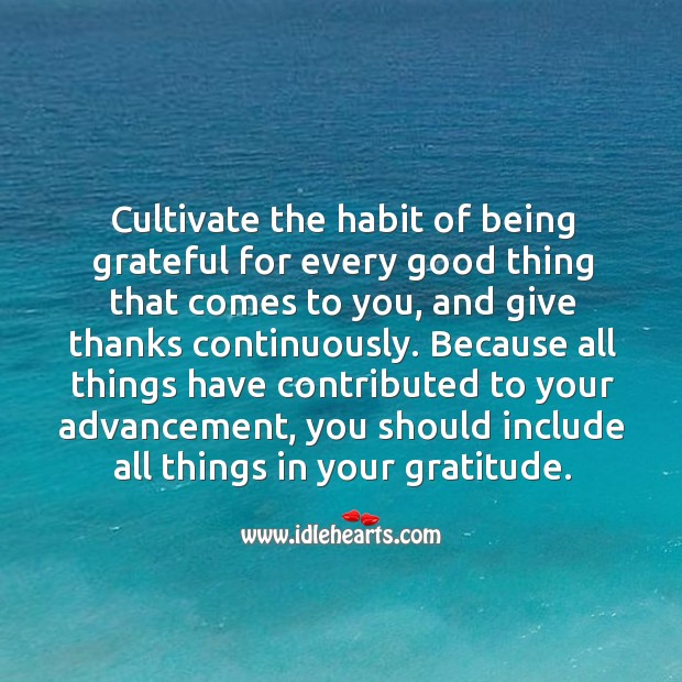 Image, Cultivate the habit of being grateful for every good thing that comes to you.
