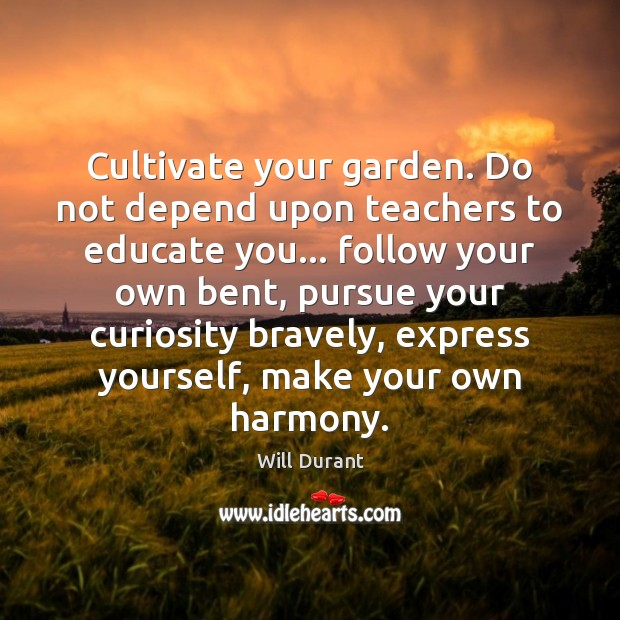 Cultivate your garden. Do not depend upon teachers to educate you… follow Will Durant Picture Quote