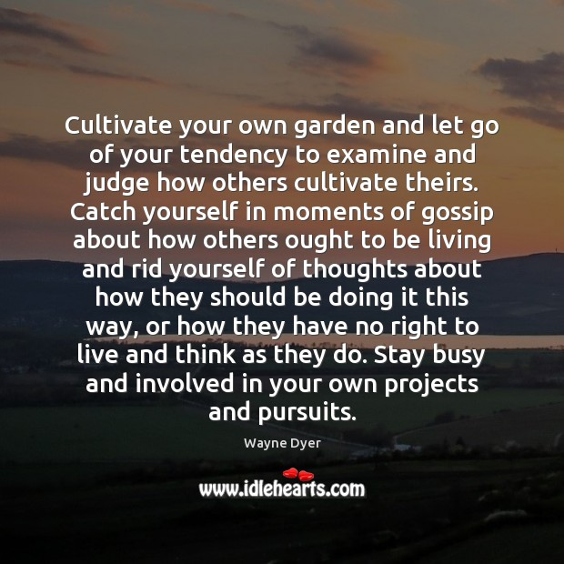 Image, Cultivate your own garden and let go of your tendency to examine
