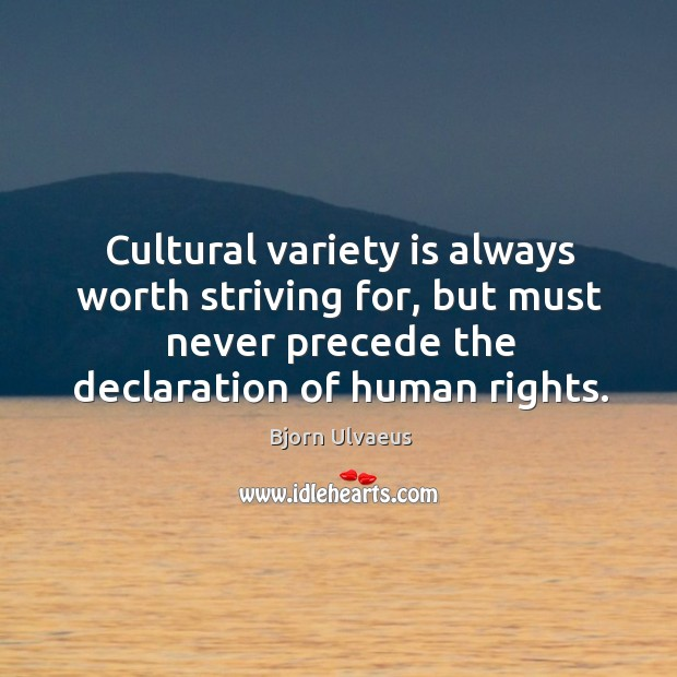 Cultural variety is always worth striving for, but must never precede the declaration of human rights. Image