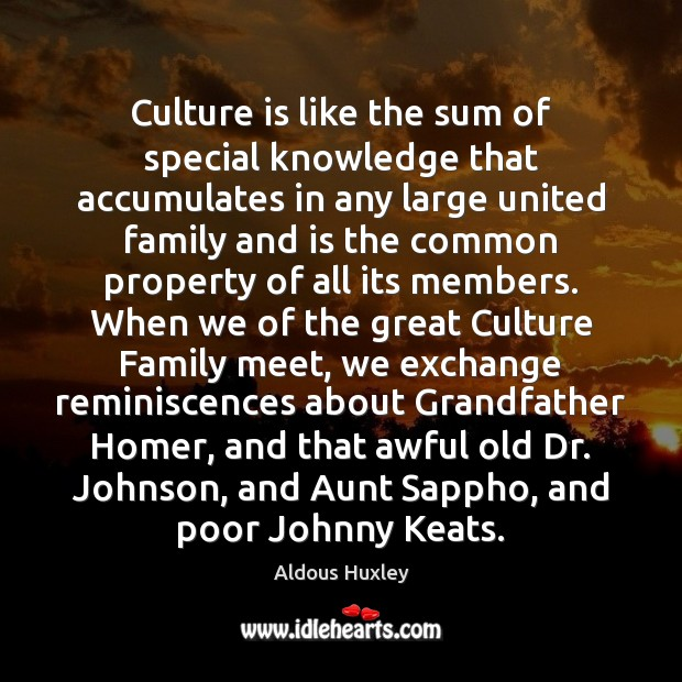 Image, Culture is like the sum of special knowledge that accumulates in any