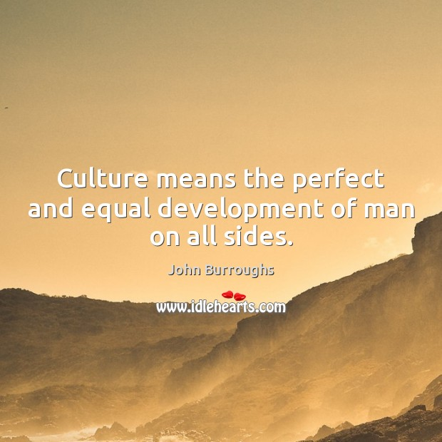 Culture means the perfect and equal development of man on all sides. Image