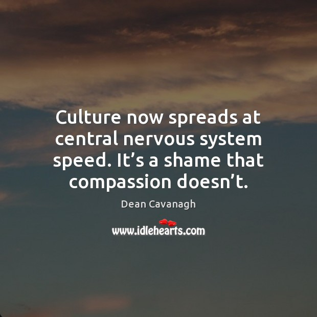 Culture now spreads at central nervous system speed. It's a shame Dean Cavanagh Picture Quote