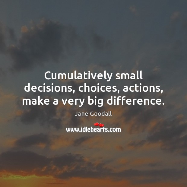 Cumulatively small decisions, choices, actions, make a very big difference. Jane Goodall Picture Quote