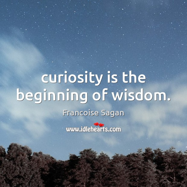 Curiosity is the beginning of wisdom. Francoise Sagan Picture Quote