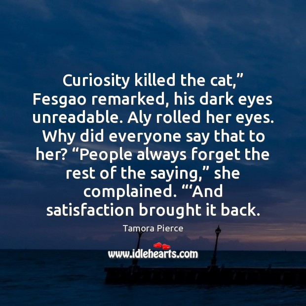 "Curiosity killed the cat,"" Fesgao remarked, his dark eyes unreadable. Aly rolled Image"