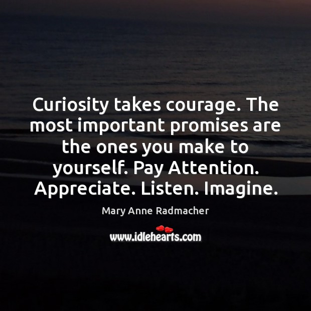 Curiosity takes courage. The most important promises are the ones you make Mary Anne Radmacher Picture Quote