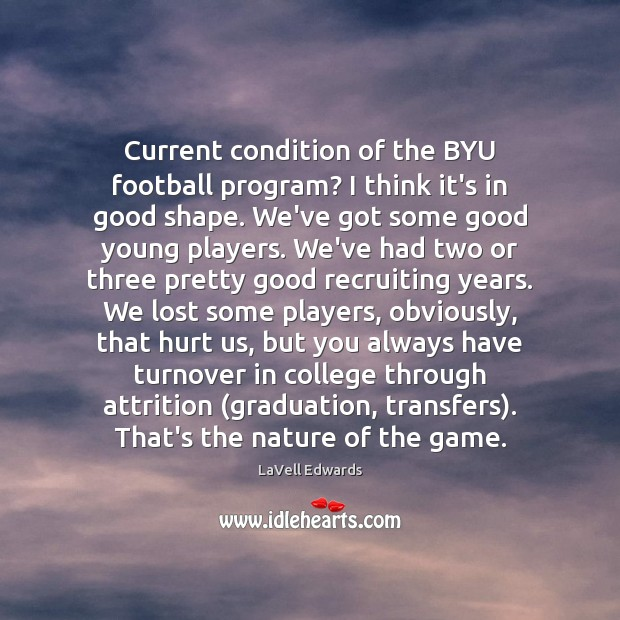 Image, Current condition of the BYU football program? I think it's in good