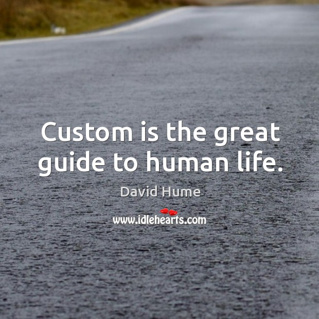 Custom is the great guide to human life. David Hume Picture Quote