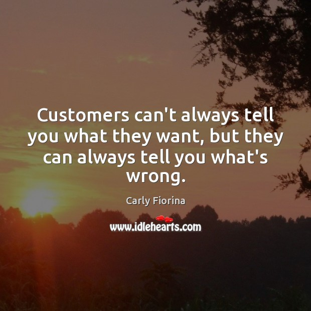Customers can't always tell you what they want, but they can always tell you what's wrong. Carly Fiorina Picture Quote