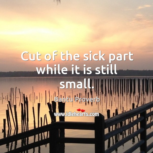 Cut of the sick part while it is still small. Bantu Proverbs Image