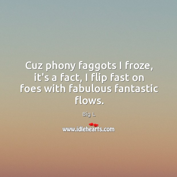 Cuz phony faggots I froze, it's a fact, I flip fast on foes with fabulous fantastic flows. Image