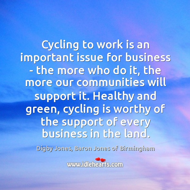 Cycling to work is an important issue for business – the more Image