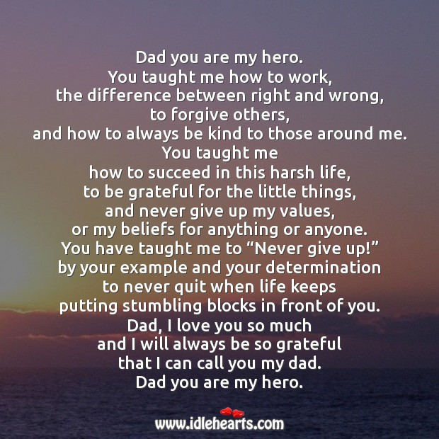 Dad you are my hero. Love You So Much Quotes Image