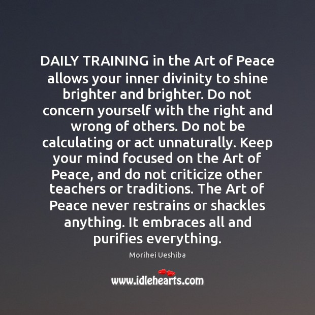 Image, DAILY TRAINING in the Art of Peace allows your inner divinity to