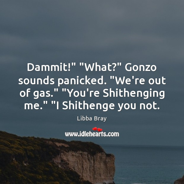 """Dammit!"""" """"What?"""" Gonzo sounds panicked. """"We're out of gas."""" """"You're Shithenging me."""" """" Libba Bray Picture Quote"""