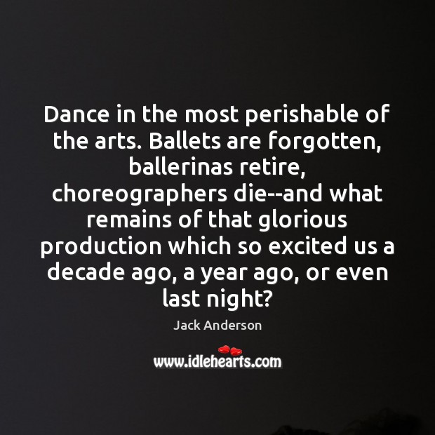 Image, Dance in the most perishable of the arts. Ballets are forgotten, ballerinas