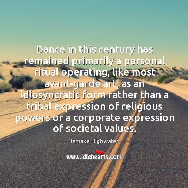 Image, Dance in this century has remained primarily a personal ritual operating, like
