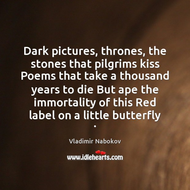 Image, Dark pictures, thrones, the stones that pilgrims kiss Poems that take a