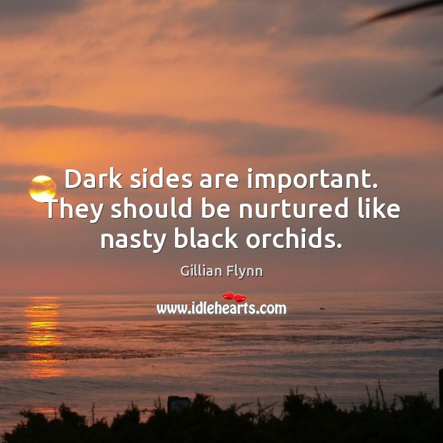 Dark sides are important. They should be nurtured like nasty black orchids. Gillian Flynn Picture Quote