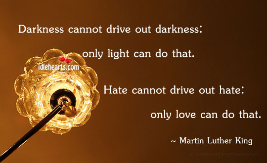 Only love can drive out hate Image