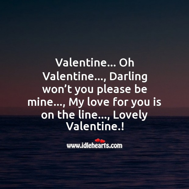 Darling won't you please be mine. Valentine's Day Messages Image