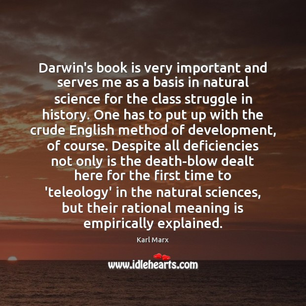 Darwin's book is very important and serves me as a basis in Image