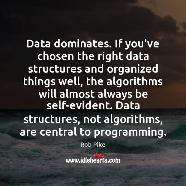 Image, Data dominates. If you've chosen the right data structures and organized things
