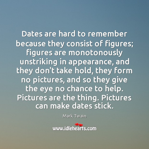 Dates are hard to remember because they consist of figures; figures are Image