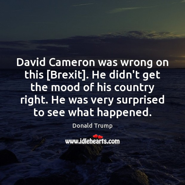 David Cameron was wrong on this [Brexit]. He didn't get the mood Image