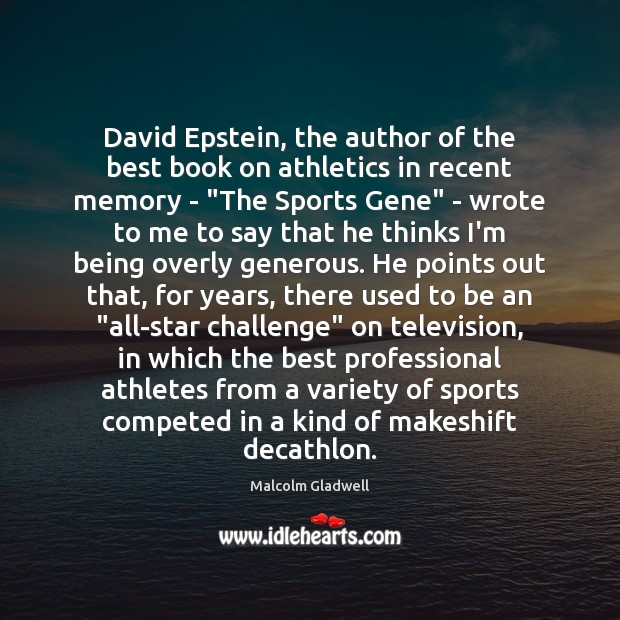 Image, David Epstein, the author of the best book on athletics in recent