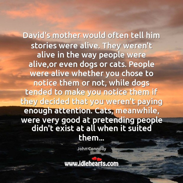 David's mother would often tell him stories were alive. They weren't alive Image
